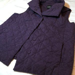 Eileen Fisher Quilted Purple Snaps Vest S